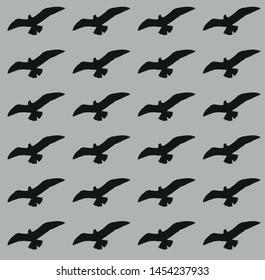 grey background on black bird silhouette pattern vector
