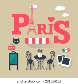grey background Paris tourist concept image. Flat vector french