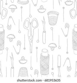 Grey background seamless pattern with sewing needle, thimble, steamer, buttons, bobbins, pins, scissors in sketch doodle hand drawn style