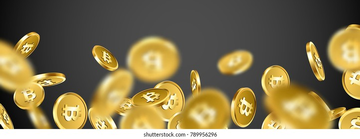 Grey banner with falling gold bitcoins. Vector money illustration.