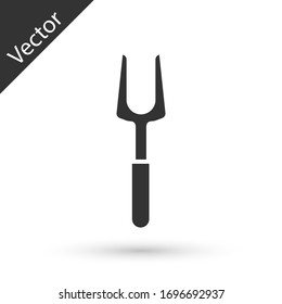 Grey Barbecue fork icon isolated on white background. BBQ fork sign. Barbecue and grill tool. Vector Illustration