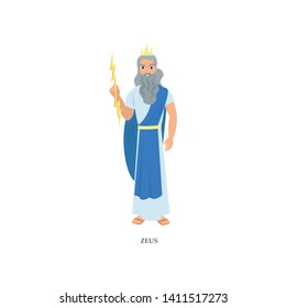 Grey bearded greek god Zeus in long blue clothes