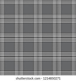 Grey, Black, & White 6-Stripe Tartan Plaid--Seamless Pattern Vector Illustration