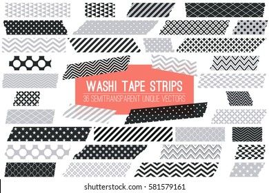 Grey, Black and White Washi Tape Strips with Torn Edges and Different Patterns. 36 Unique Semitransparent Vectors. Photo Sticker, Print / Web Layout Element, Clip Art, Scrapbook Embellishment.