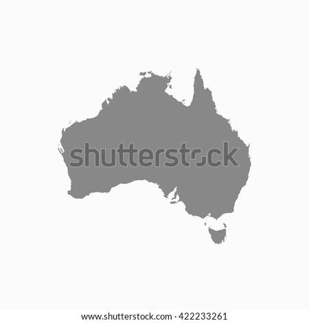 Australia Map Grey.Grey Blank Australia Map Flat Vector Stock Vector Royalty Free