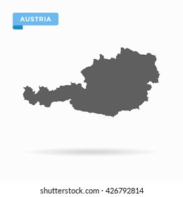 Grey blank Austria map. Flat vector illustration. EPS10.
