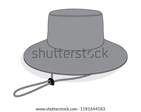 grey blank bucket hat template wide stock vector royalty free
