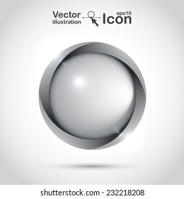 Grey blank button for your design. Icon can use for websites, applications, and printing. Vector illustration