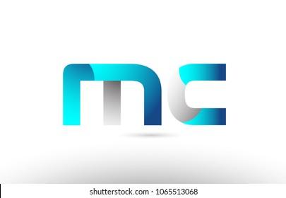 grey blue alphabet letter mc m c logo 3d design suitable for a company or business
