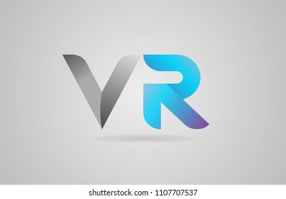 grey blue alphabet letter vr v r logo design suitable for a company or business