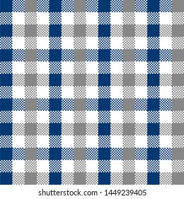 Grey and Blue Gingham pattern. Texture from squares for - plaid, tablecloths, clothes, shirts, dresses, paper, bedding, blankets, quilts and other textile products. Vector illustration EPS 10