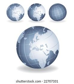 Grey blue globes vector