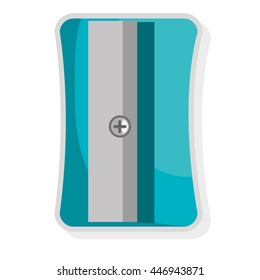grey and blue pencil sharpener front view over isolated background, vector illustration