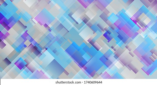 Grey blue violet squares abstract geometric tech background. Vector design