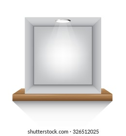 grey box and lights on shelf on white background isolate vector illustration eps 10
