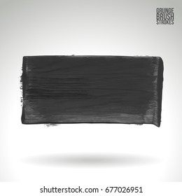 Grey brush stroke and texture. Grunge vector abstract hand - painted element. Underline and border design.