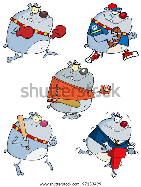 Grey Bulldog Cartoon Characters. Vector Collection.Jpeg version also available in gallery.