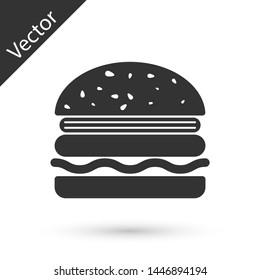 Grey Burger icon isolated on white background. Hamburger icon. Cheeseburger sandwich sign. Vector Illustration