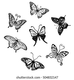 Grey butterfly logo set, vector illustration isolated on background