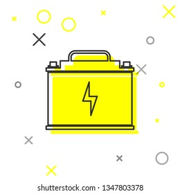 Grey Car battery line icon isolated on white background. Accumulator battery energy power and electricity accumulator battery. Lightning bolt symbol. Vector Illustration