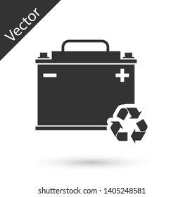 Grey Car battery with recycle icon isolated on white background. Accumulator battery energy power and electricity accumulator battery. Vector Illustration