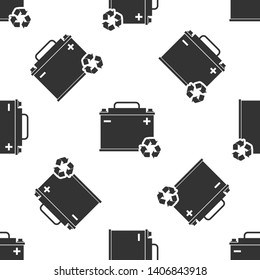 Grey Car battery with recycle icon isolated seamless pattern on white background. Accumulator battery energy power and electricity accumulator battery. Vector Illustration