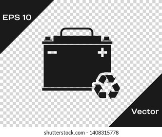 Grey Car battery with recycle icon isolated on transparent background. Accumulator battery energy power and electricity accumulator battery. Vector Illustration