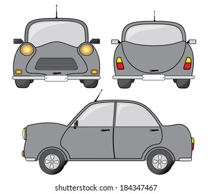 Grey car design, side, back and front view, creative vector design.