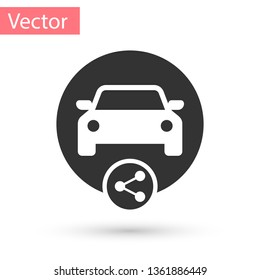 Grey Car sharing icon isolated on white background. Carsharing sign. Transport renting service concept. Vector Illustration