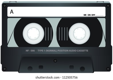 Grey Cassette Tape with See Through Window