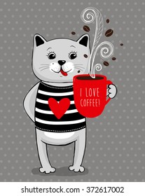 Grey cat with red cup, i love coffee