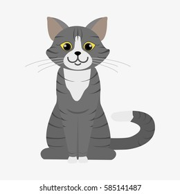 Grey cat with stripes and yellow eyes. Cartoon character. Domestic animal. Flat vector stock illustration