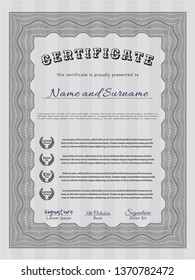 Grey Certificate of achievement template. With background. Beauty design. Vector illustration.