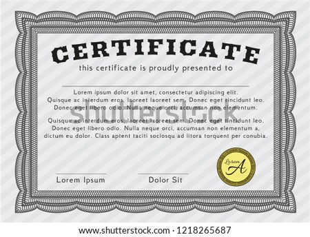 grey certificate achievement template modern design stock vector