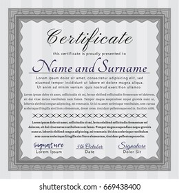 Grey Certificate diploma or award template. Elegant design. Detailed. With complex background.