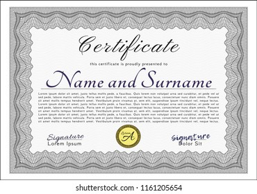 Grey Certificate or diploma template. Artistry design. Detailed. With background.