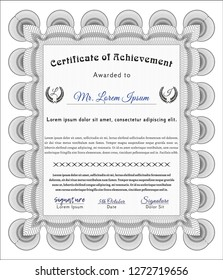 Grey Certificate. With great quality guilloche pattern. Cordial design. Detailed.