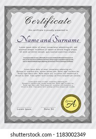 Grey Certificate template. Good design. Customizable, Easy to edit and change colors. Printer friendly.