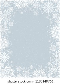 Grey christmas background with frame of white snowflakes and stars, vector illustration