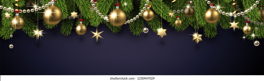 Grey Christmas and New Year banner with fir branches and gold shiny Christmas decorations. Festive design. Vector background.