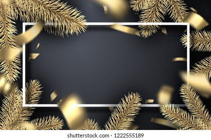 Grey Christmas and New Year festive poster with white frame, fir branches and gold blurred confetti. Vector background.