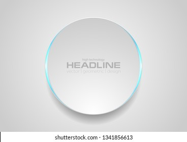 Grey circle with blue glowing light abstract tech background. Vector minimal design