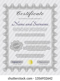 Grey Classic Certificate template. Artistry design. Customizable, Easy to edit and change colors. With quality background.