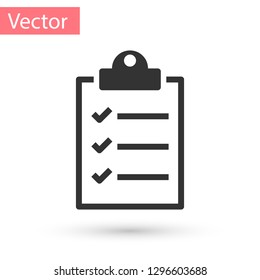 Grey Clipboard with checklist icon isolated on white background. Vector Illustration