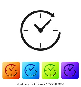 Grey Clock with arrow icon isolated on white background. Time symbol. Clockwise rotation icon arrow and time. Set icon in color square buttons. Vector Illustration