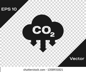 Grey CO2 emissions in cloud icon isolated on transparent background. Carbon dioxide formula symbol, smog pollution concept, environment concept. Vector Illustration