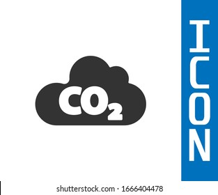 Grey CO2 emissions in cloud icon isolated on white background. Carbon dioxide formula, smog pollution concept, environment concept.  Vector Illustration