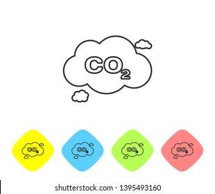 Grey CO2 emissions in cloud line icon isolated on white background. Carbon dioxide formula symbol, smog pollution concept, environment concept. Set icon in color rhombus buttons. Vector Illustration