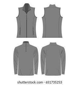 grey color autumn fleece vest and jacket set isolated vector on the white background