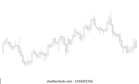Grey color candlestick chart in financial market vector illustration on white background. Forex trading graphic design concept.